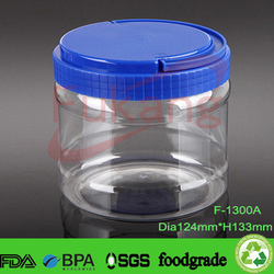 1300ml bpa free plastic jar wholesale, transparent round airless accessories containers, clear dry fruits seeds storage jars