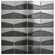 hairline silver trapezoid stainless steel mosaic tile-- metal mosaic tile