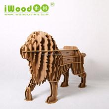 MDF decor shelf, Wood lion living room home decor art furniture