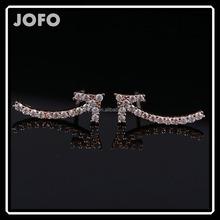 High Quality Korean Micro Insert Zircon Arrow Earrings Clear Zircon Crystal Rose Golden Earrings