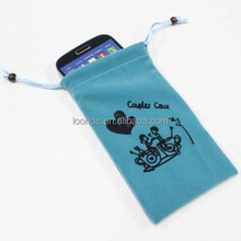 promotional cell phone velour drawstring pouch