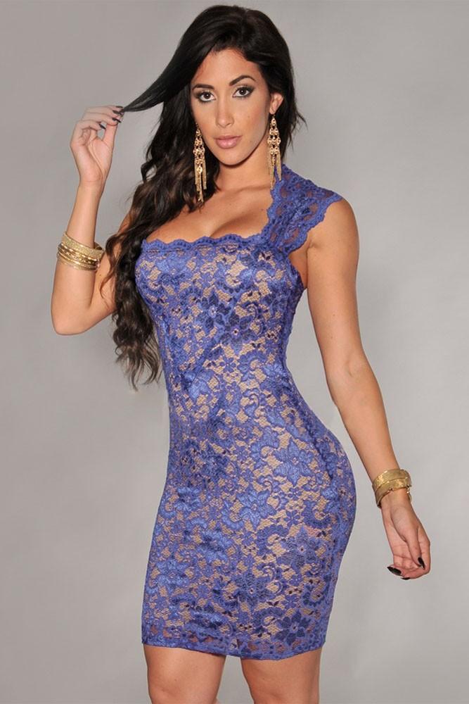 Compre Elegante Vestido De Bodycon Sin Tirantes De Encaje Royal Blue ...