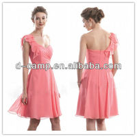 BD-152 One shoulder ruched bodice coral knee length chiffon bridesmaid dresses cheap