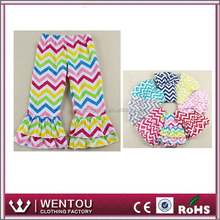 Hot Sale Girls Colorful Chevron Cotton Personalize Ruffle Pant