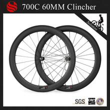 High performance 60mm complete carbon fiber bicycle wheelset clincher road wheel with titanium basalt brake edge