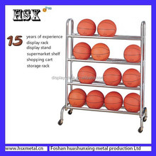 Outdoor metal basketball display rack