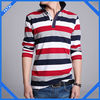 cotton long sleeve design color combination polo t shirt for men