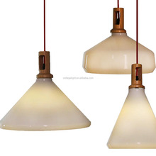 Modern Fancy Opaque Stained White Glass Hanging Lights Wooden Single Head Pendant Lighting