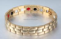 316l Stainless steel IP gold magnet bracelet for men