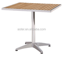 Outdoor dining poly wood table zinc