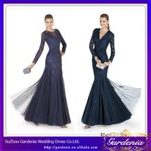 2014 elegantes de marca azul marino de noche de la sirena de los vestidos de la India de manga larga de encaje vestido de noche