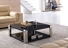 mini timber glass ss square coffee table