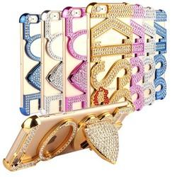 Luxury Diamond Plastic Love Kiss Case Cover For iPhone 6