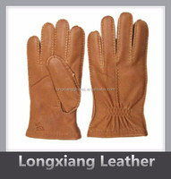cashmere lining cork colour deer skin glove with elastic on cuff
