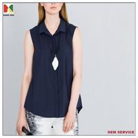 High quality plain colour sleeveless women shirt cotton OL ladies cotton shirts designs