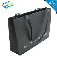 custom logo printed matt laminated black cloth shopping paper bag with handles trade assurance supplier