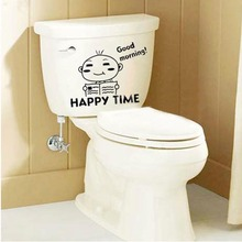 Best Price New Funny PVC Art Toilet Seat Wall Sticker Vinyl Mural Wallpaper Removable Bathroom Toilet Decals Decor