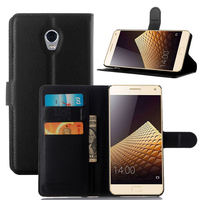 Black Leather Flip Wallet Cover For Lenovo Vibe P1