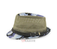 Blue Camo sun breathable mesh insert camouflage Fedora hat with knitted ribbon