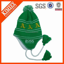 Hot sale earflap knitting green trapper hats