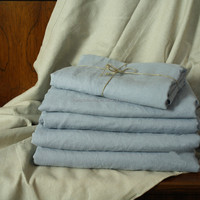 Enzyme washed 100% flax linen bed sheets