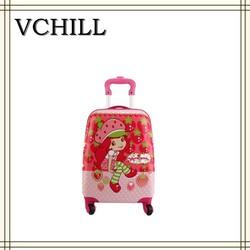 Cute rolling cartoon kids luggage for girls