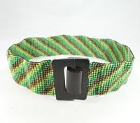 Fashion ladies wooden buckle handmade colorful beaded belt