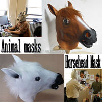 Halloween Costume Theater Prop High quality Novelty Latex Rubber Horse Head Animals Mask