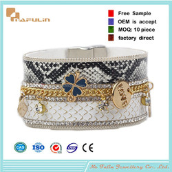 [Nafulin]Story snake skin bracelet latest hot selling crystal charms snake skin bracelet with charms
