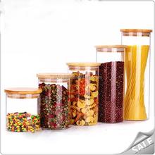 De la categoría alimenticia tarros botella de vidrio botella decorativa con tapa de madera