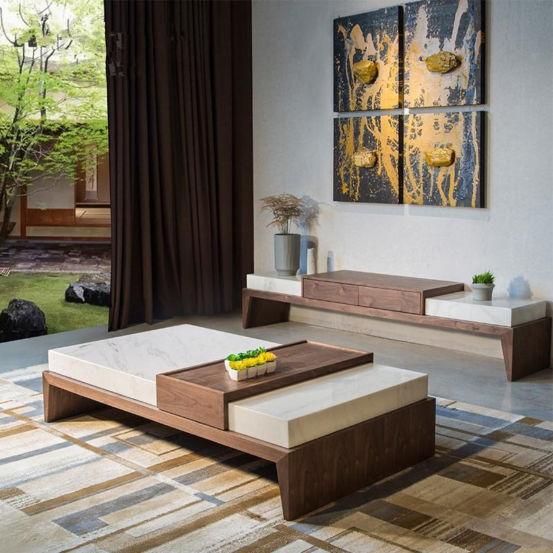Neue Italien Design Moderne holzsockel Natur Marmor Couchtisch für ...