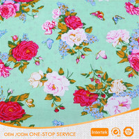 Rose flower reacitve printed 100% cotton fabric for children dress
