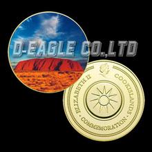 Hot Sale Manufactory Famous Buliding Uluru (Ayers Rock) Colorized Printed Coin d4#/Custom Souvenir / Custom Coin/Medal