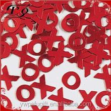 wedding decoration red X & O shaped wedding confetti