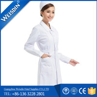 Promotional women's/man's non-woven fabric use white color female design nurse white uniform