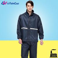 Polyester breathable reflective motorcycle rain jacket