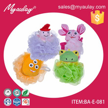 OEM colorful animal bath mesh sponge Cute animal frog shaped bath sponge for kids BA-E-081