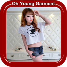 Hot selling cheap price custom women printed crop tops/crop top/top with crew neck short sleeve wholesale made in china