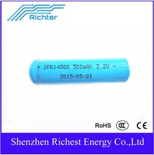 IFR 14500 AA/AAA high quality Richter Brand 500mah 3.2V rechargeable battery