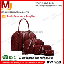 2015 high end pu leather handbag for lady , cosmetic bag sets