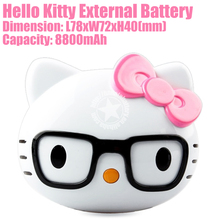 8800mAh Cute Hello Kitty Power Bank External Battery With Glasses for SmartPhones Made in China Shenzhen