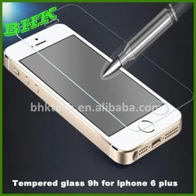 anti-scratch transparent tempered glass 9h for iphone 6 plus,9H tempered glass screen protector for iphone 6 plus