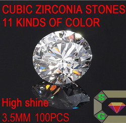 3.5mm loose diamond cut high quality shiny white colorless CZ gems in wholesale