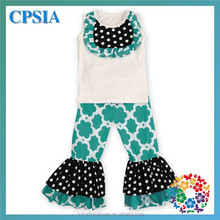 2015 Spring new Design outfit girls ruffle pants set school girls costume floral set