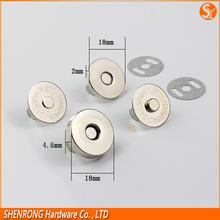 Eco-friendly customized metal round magnetic button for bag
