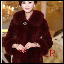 2015 new design long style rex rabbit fur coats with square fox fur collar and belt/Fur Garments Trading