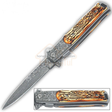 9 Inch bone handle damascus stainless steel outdoor pocket folding knife