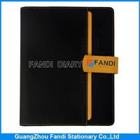 Mini leather cover spiral notebook with color pages printing