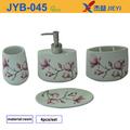 Moda encaixe do banheiro,4 peça flor acessório banheiro,jogo de banho de cerâmica