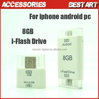 Crystal box i-Flash Drive 8G 16GB 3 in 1 USB Card Reader For iphone 6+ Samsung Mobile Phone PC Micro USB Adapter